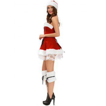 Strapless Velvet Christmas Costume - RED RED