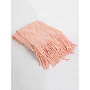 Outdoor Fringed Knit Long Shawl Scarf - PINK