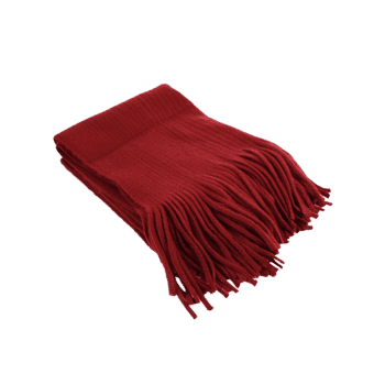 Outdoor Fringed Knit Long Shawl Scarf - WINE RED