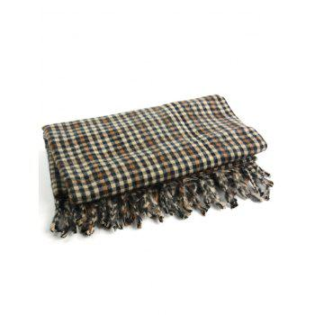Vintage Small Checked Pattern Oversized Scarf -  multicolor