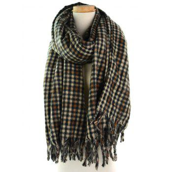 Vintage Small Checked Pattern Oversized Scarf - MULTI multicolor