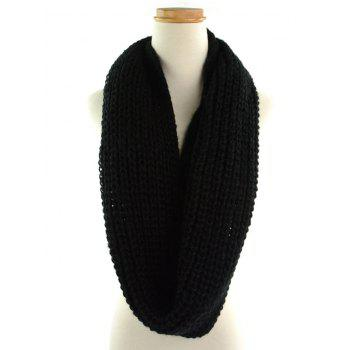 Outdoor Thick Knitted Chunky Scarf -  BLACK