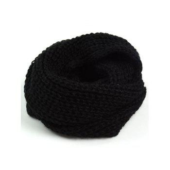 Outdoor Thick Knitted Chunky Scarf - BLACK BLACK
