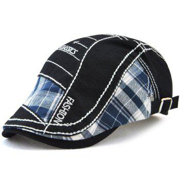 Outdoor Patchwork Embroidery Cabbie Cap - BLACK BLACK