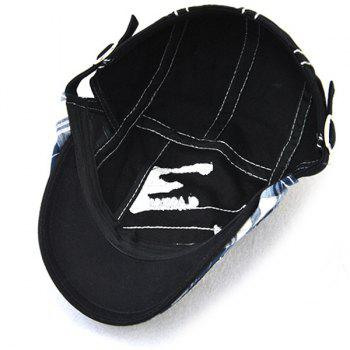 Outdoor Patchwork Embroidery Cabbie Cap -  BLACK