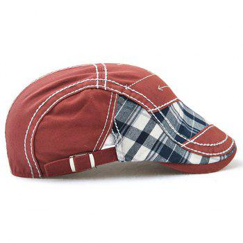Outdoor Patchwork Embroidery Cabbie Cap - WINE RED