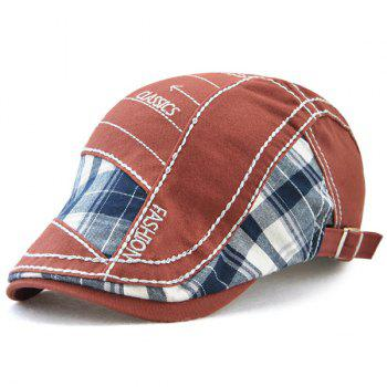 Outdoor Patchwork Embroidery Cabbie Cap - WINE RED WINE RED