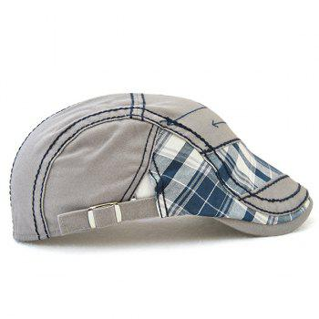 Outdoor Patchwork Embroidery Cabbie Cap - GRAY