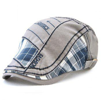 Outdoor Patchwork Embroidery Cabbie Cap - GRAY GRAY
