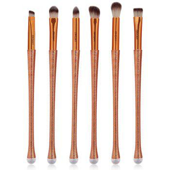 6Pcs Slim Handle Eyes Brush Suit - BROWN BROWN