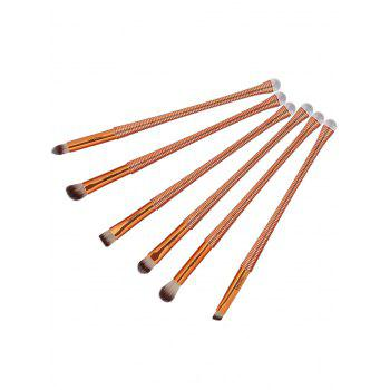 6Pcs Slim Handle Eyes Brush Suit -  BROWN