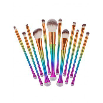12 Pieces Gradient Color Multipurpose Makeup Brushes Set - COLORFUL COLORFUL