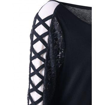 Plus Size Lace Panel Criss Cross Long Sleeve T-shirt - BLACK 2XL