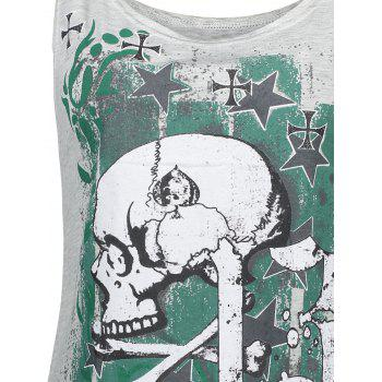 Halloween Skull Plus Size Racerback Tank Top - Gris Clair 2XL