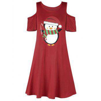 Christmas Penguin Cold Shoulder Dress