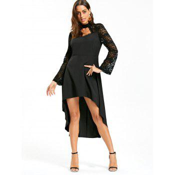 Robe à encolure en mousseline - Noir M