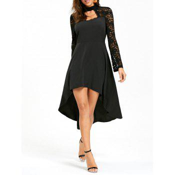 Lace Insert High Low Cut Out Dress - BLACK BLACK