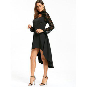 Robe à encolure en mousseline - Noir XL