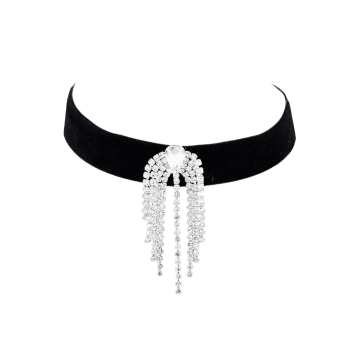 Rhinestone Tassels Chain Choker Necklace -  BLACK