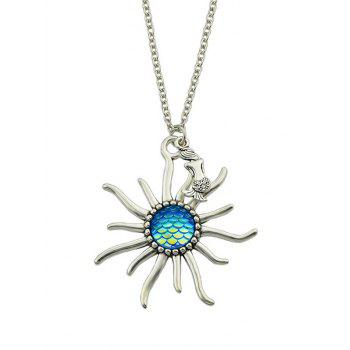 Sunflower Fish Scales Alloy Necklace - BLUE BLUE