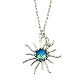 Sunflower Fish Scales Alloy Necklace -  BLUE