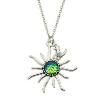 Sunflower Fish Scales Alloy Necklace - GREEN GREEN