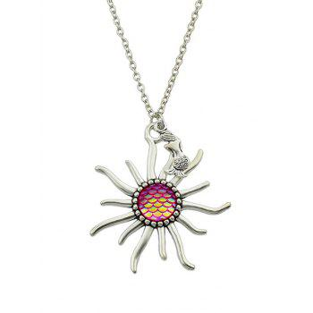 Sunflower Fish Scales Alloy Necklace - HOT PINK HOT PINK