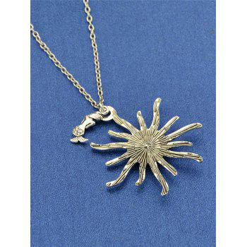 Sunflower Fish Scales Alloy Necklace -  HOT PINK