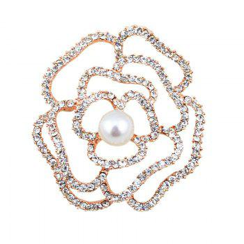 Faux Pearl Rhinestone Sparkly Flower Brooch - GOLDEN GOLDEN