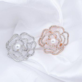 Faux Pearl Rhinestone Sparkly Flower Brooch - GOLDEN
