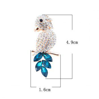 Broche étincelante Faux Crystal Bird - Bleu et Or