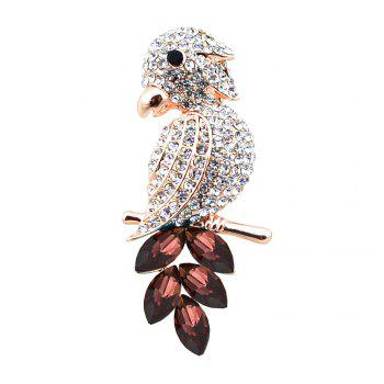 Rhinestone Faux Crystal Bird Brooch - PURPLE PURPLE