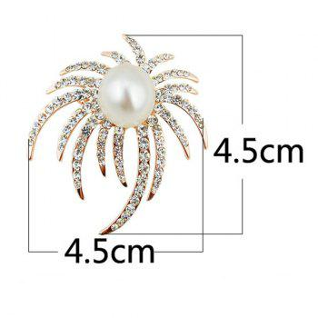 Faux Pearl Rhinestone Unique Brooch - Or