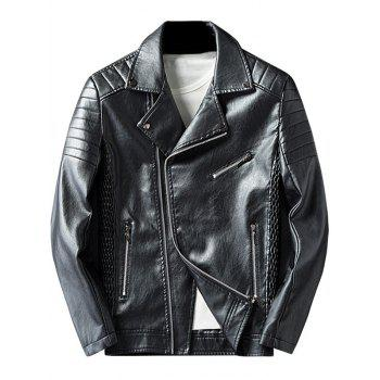 Pleated Rib Asymmetrical Zip Faux Leather Jacket