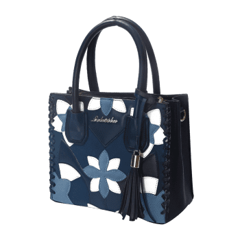 Tassel Floral Braid Tote Bag - Bleu