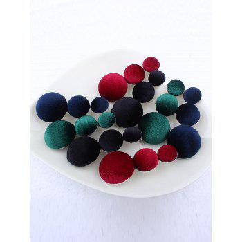 Vintage Graduated Round Velvet Earrings - Bleu