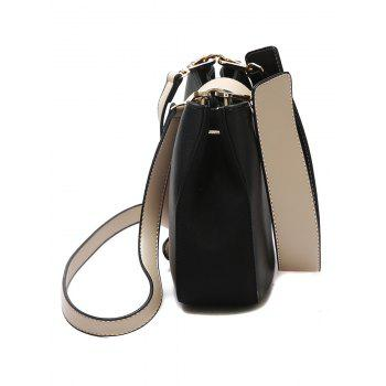 Two Tone Metal Detailed Crossbody Bag - BLACK