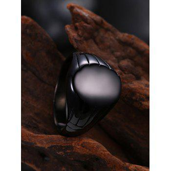 Oval Engraved Claw Pattern Finger Ring - BLACK BLACK