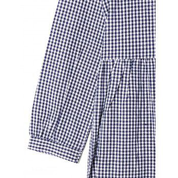 Button Down Plaid Shift Dress - CHECKED CHECKED