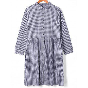 Button Down Plaid Shift Dress - CHECKED XL