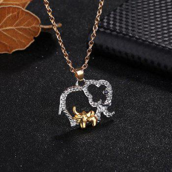 Alloy Hollow Out Elephant Pendant Necklace - SILVER
