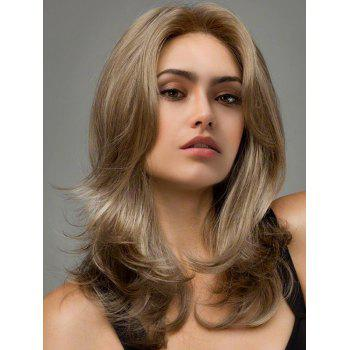Medium Layered Fluffy Slightly Curly Synthetic Wig - COLORMIX COLORMIX