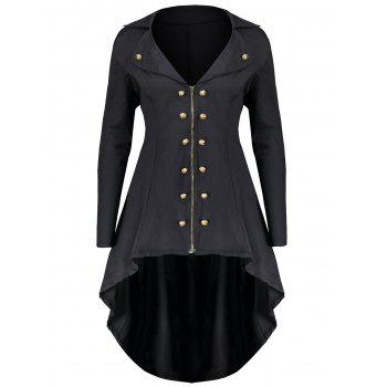 Double Breast Plus Size High Low Coat