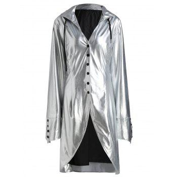 Plus Size Lace Up Hooded Longline Coat - SILVER 2XL