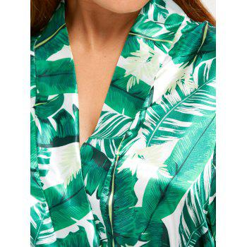 Tropical Leaves Print Wrap Sleep Robe - GREEN XL