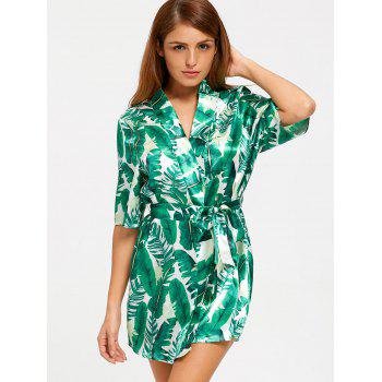 Tropical Leaves Print Wrap Sleep Robe - GREEN GREEN