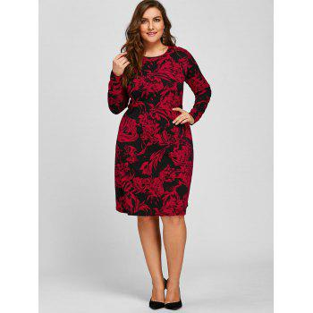 Sheath Plus Size Floral Long Sleeve Dress - RED 4XL