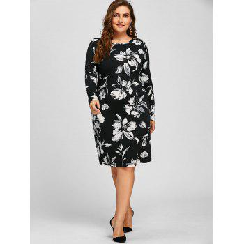 Sheath Plus Size Floral Long Sleeve Dress - WHITE 3XL