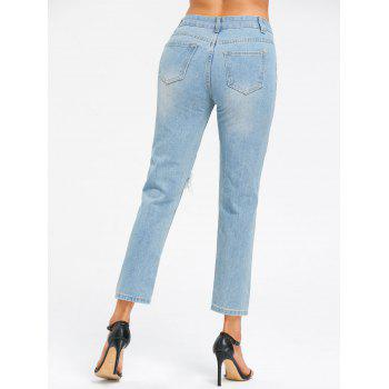 Cut Out Ninth Jeans - LIGHT BLUE M