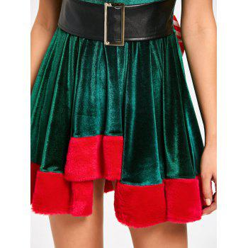 Lace Up Bowknot Christmas Mini Skater Dress - GREEN GREEN